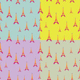 Eiffel-Tower-Pattern-with-Color-Background Royalty Free Stock Photos