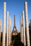 Eiffel tower and Peace Monument pillars royalty free stock photos