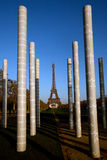 Eiffel tower and Peace Monument pillars Stock Images