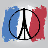 Eiffel Tower ,peace symbol icon on France flag Royalty Free Stock Images