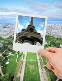 Eiffel tower photo over The Champ de Mars of Paris. Polaroid photo frame of Eiffel tower over The Champ de Mars of Paris Stock Image