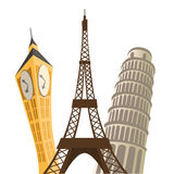 Eiffel tower, pisa tower and big ban Stock Photo