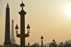 Eiffel Tower and Place de la Concorde Stock Images