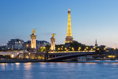 Eiffel Tower and Pont Alexandre III  by night Royalty Free Stock Images
