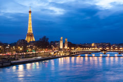 Eiffel Tower and Pont Alexandre III Stock Photography