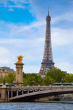 Eiffel tower from Pont Alexandre III in Paris Stock Image