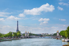 The Eiffel tower and Pont Alexandre III stock photos