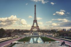 Eiffel Tower seen from Trocadero Gardens. Eiffel Tower and Pont d`Iena seen from Trocadero Gardens. Paris. France Royalty Free Stock Photo