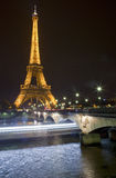 Eiffel Tower and Pont d'lena Bridge in Paris Stock Photography