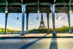 Eiffel tower from Pont de Bir-Hakeim Stock Images