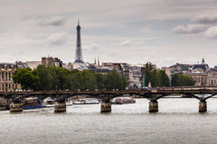 Eiffel Tower and Pont des Arts Bridge, Paris Stock Photography