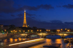 Eiffel Tower and Pont des Invalides in Paris Stock Photos