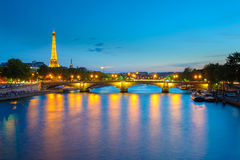 Eiffel Tower and Pont des invalides Stock Photography