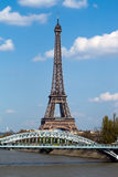 Eiffel tower and railway bridge in Paris Stock Image