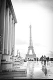 Eiffel Tower. After rain with crowd of tourist, Paris (France Royalty Free Stock Photos