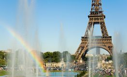 Eiffel Tower and rainbow in fountain Royalty Free Stock Images