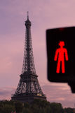 Eiffel tower and red light of pedestrian traffic light Royalty Free Stock Images