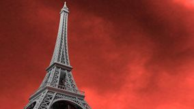Eiffel Tower. The Eiffel Tower on a red, stormy / flamming sky Stock Photography