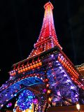 The Eiffel tower replica in the night Royalty Free Stock Photos
