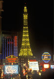 Eiffel Tower replica at night, Las Vegas, NV Royalty Free Stock Image
