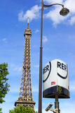 Eiffel tower and RER metro sign Stock Photo