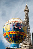 Eiffel Tower restaurant and Montgolfier Balloon on the Las Vegas Stock Image