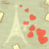 Eiffel tower on retro background Royalty Free Stock Images
