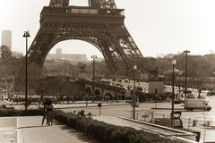 Eiffel tower retro style. Lower part of Eiffel Tower stock photography