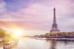 Eiffel Tower and river. Royalty Free Stock Images