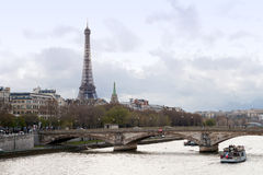 Eiffel tower River Seine Stock Photos