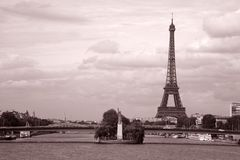 Eiffel Tower and River Seine, Paris. Eiffel Tower and the River Thames in Black and White Sepia Tone, Paris, France Stock Image