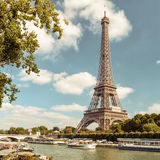 The Eiffel tower from the river Seine in Paris Stock Photography