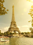 The Eiffel tower from the river Seine in Paris Royalty Free Stock Photos