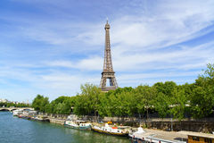 Eiffel tower and river Seine in Paris, France Royalty Free Stock Images