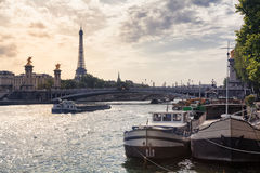 Eiffel Tower and River Seine in Paris, France. Eiffel Tower and barges on River Seine in Paris, France Stock Photography
