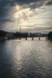 Eiffel Tower and River Seine in Paris, France. Eiffel Tower and the sun reflecting in River Seine in Paris, France Stock Photography