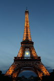 Eiffel Tower, Roland Garros tennis ball, with lights blinking in Paris, France Stock Photography