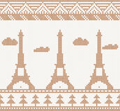 Eiffel tower: Scandinavian seamless knitted pattern Royalty Free Stock Images