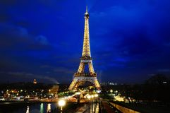 Eiffel tower scenic view at night blue hour, Paris, France Stock Photography