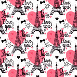 Eiffel Tower. Seamless pattern. Illustration black ink Eiffel Tower. Vector decorations  on white background. Handwritten inscription Paris I love you Royalty Free Stock Image