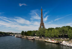 The Eiffel Tower seen from the banks of the Seine stock image