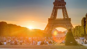 Eiffel Tower seen from Champ de Mars at sunset timelapse, Paris, France stock video
