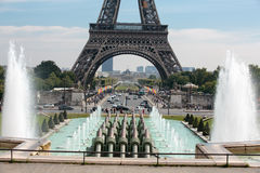 Eiffel Tower seen from fountain at Jardins du Trocadero. Paris Stock Image