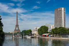 Paris- Eiffel Tower seen from Front of the Seine stock images