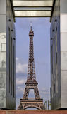 Eiffel Tower seen through Mur de la Paix royalty free stock photo