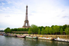 Eiffel tower with seine river Royalty Free Stock Photo