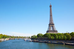Eiffel tower and Seine river in a clear sunny day in Paris Stock Images