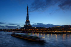 Eiffel Tower and Seine River at dawn, Paris, France Royalty Free Stock Images
