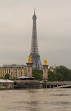 The Eiffel tower and Seine river in flood, Paris, France. Royalty Free Stock Images