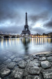 Eiffel Tower with seine river in foreground stock photo